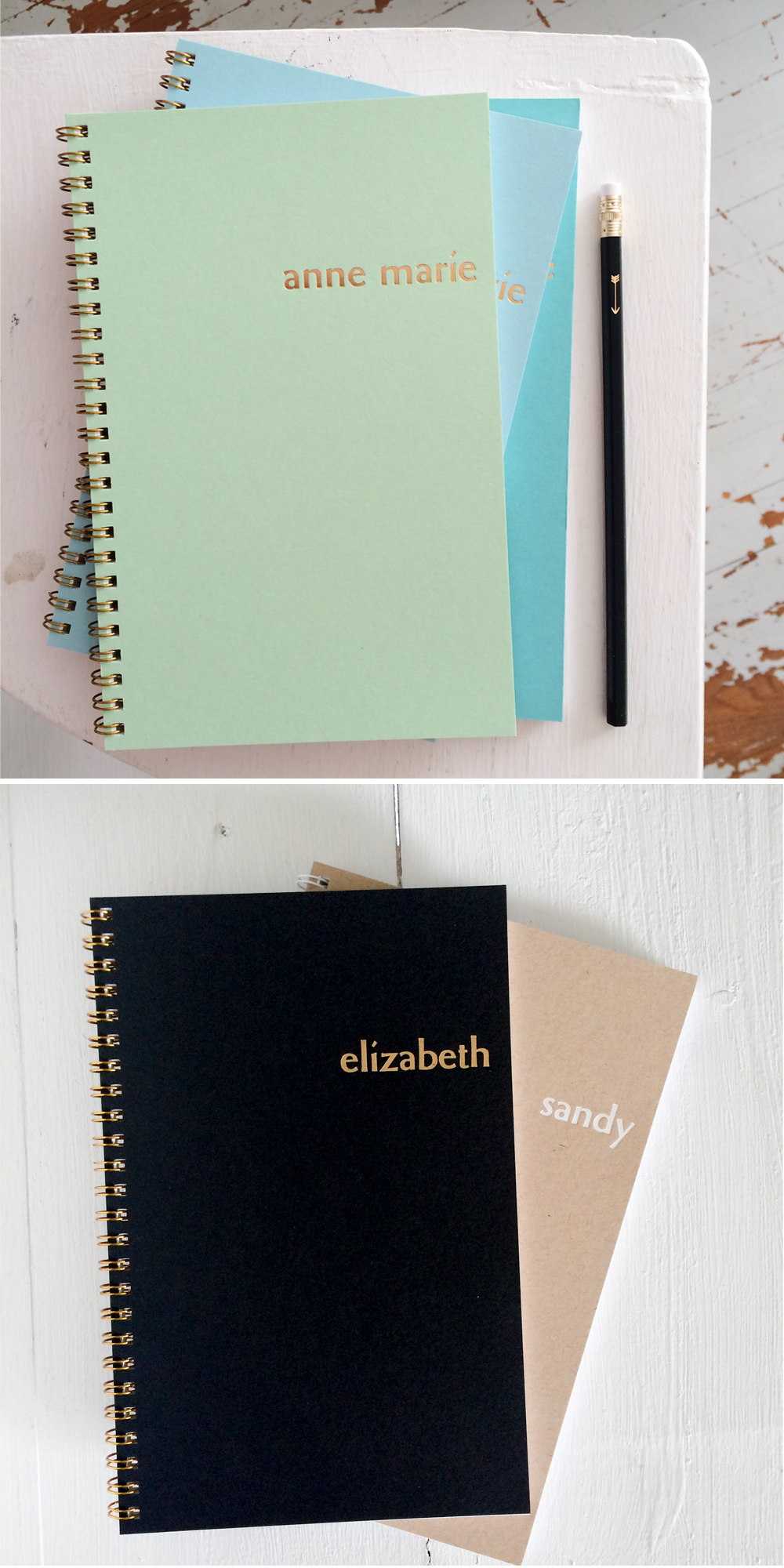 new personalized foil notebooks